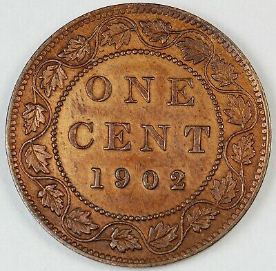 1902 Canada / Canadian One Large Cent / Penny - AU About Uncirculated Condition