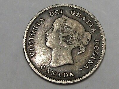 """Better 1886 (Small """"6"""") Silver Canadian 5 Cent Coin. Queen Victoria.  #47"""