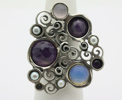 Sterling Silver .925 Very Large Ornate Amethyst Pearl Fashion Ring Sz 7  J617