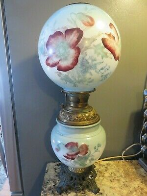 Antique Milk Glass Hand Painted Gwtw Oil Lamp Brass Font Shade Globe B&H Miller