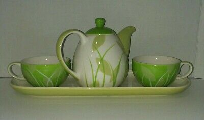 Hues N Brews Tea For Two Set Green Leaves Grass Teapot 2 Cups Tray EUC