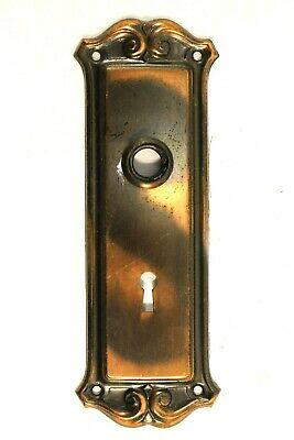 Antique Copper Door Face plate Backplate 1900s Victorian Style Japanned