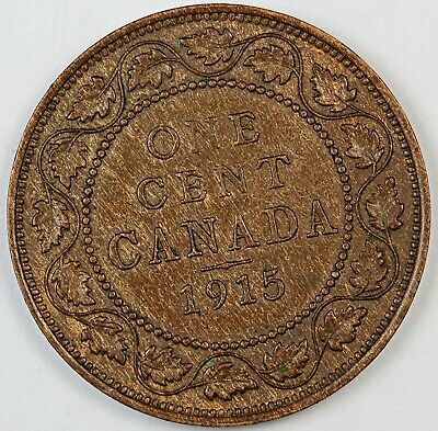 1915 Canada / Canadian One Large Cent / Penny - AU About Uncirculated Condition