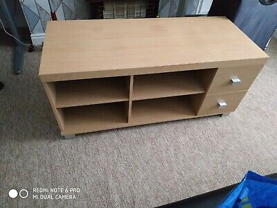 Oak TV wardrobe with 2 drawers, few scratches and marks as expected