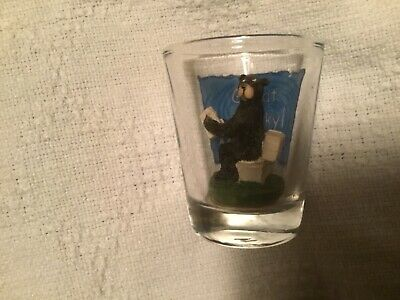 "Vintage Great Smoky Mountains bear reading on toilet  Shot Glass 2 1/4"" Tall"
