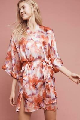 (Nwot Anthropologie Samantha Chang Floral Silk Kimono Robe-One Size(As Is)