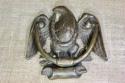 old Door knocker Eagle & wreath branches antique solid Brass vintage 1800's