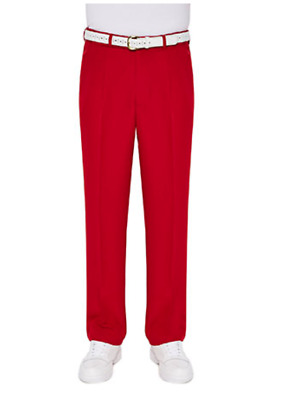 LAWN BOWLS CLOTHING SALE Mens City Club Tailored Trousers RED with logo RP$85