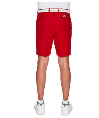 LAWN BOWLS CLOTHING SALE Mens City Club Tailored Shorts RED with Logo RP$65