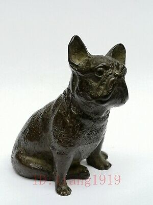 Signature Collected China Old Bronze Carving Dog Statue Paperweight Decoration