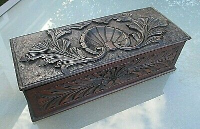 Stunning Antique / Vintage Hand Carved Wooden Long Box / Glove Box