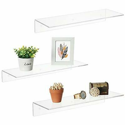 17 Inch Clear Acrylic Floating Shelves, Wall Mounted Modern Display Racks, Set