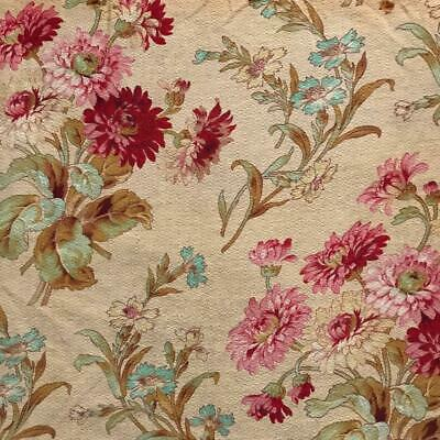BEAUTIFUL 19th CENTURY FRENCH NAPOLEON III LINEN COTTON CORNFLOWERS 800