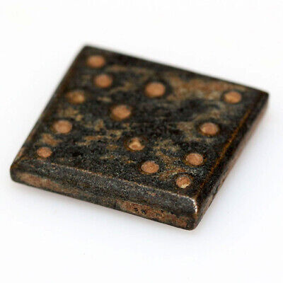 STUNNING BYZANTINE BRONZE SQUARE WEIGHT DECORATED CIRCA 700 AD, 4.41g