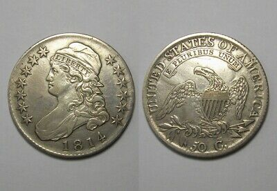 CLEANED Half Dollar 1814 USA Capped Bust Silver Coin