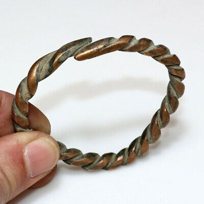 Very Rare-Ancient Romano Celtic Bronze Twisted Bracelet Circa 50 Bc-100 Ad