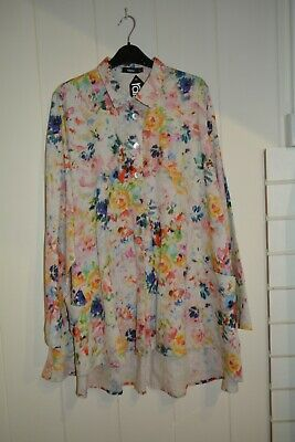 Ralston Buttoned Floral Linen Top/Shirt, Size Large UK 16-18, New £165, Loose