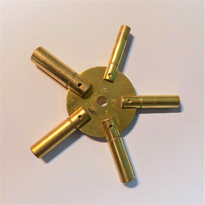 Brass 5 Prong Clock Winding Key Odd Sizes Spider Bench 3 5 7 9 11 Star Winder