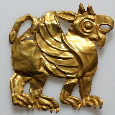 Circa 500-300 Bc Ancient Greek Gold Leaf Griffin Ornament-24 Carats