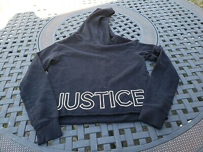 Justice ~ Girls Black Active Wear Cropped Sweatshirt ~ Size 8-10