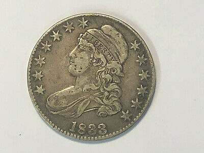 NICE 1833 CAPPED BUST SILVER HALF DOLLAR.....with same day low combined shipping
