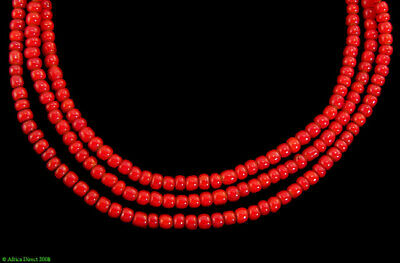 2 Strands Red Whitehearts Venetian Trade Beads African 2mm