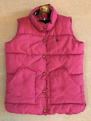 JOULES Girls Pink Padded Gillet Gilet Body Warmer Jacket Floral age 9-10 years