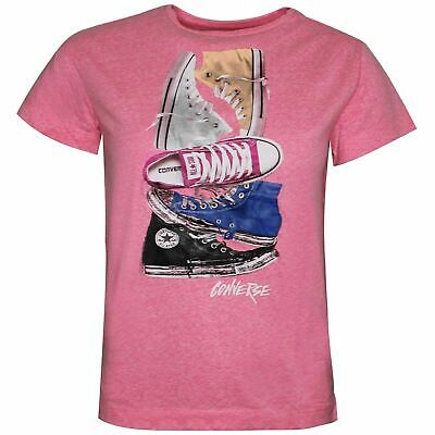 Converse Junior Girls Stacked Chuck II Tee Pink T-Shirt 466532 A4P