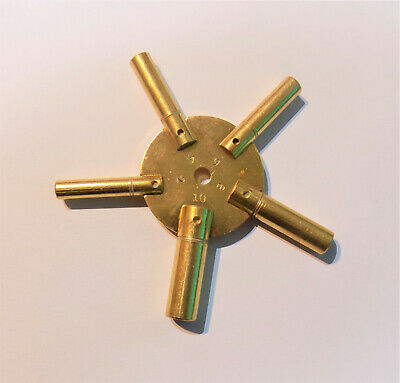 Brass 5 Prong Clock Winding Key Even Sizes Spider Bench 2 4 6 8 10 Star Winder