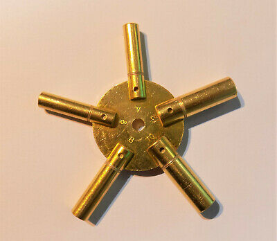 Brass 5 Prong Clock Winding Key Even Sizes Spider Bench 4 6 8 10 12 Star Winder