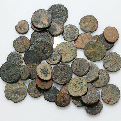 Lot Of 40 Uncertain Late Roman Bronze Coins-Partial Cleans-Ca 300-400 Ad