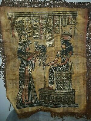 Rare Antique Ancient Egyptian papyrus Queen Nefertari & God Hathor1279–1213 BC