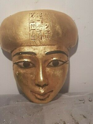 Rare Antique Ancient Egyptian Mask King Seti 1 writing Protection 1290–1279 BC