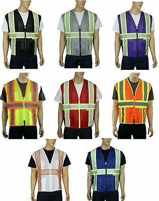 (Variety of Colors) Mesh Hi-Vis Reflective Tape Safety Vest with Pockets MP40