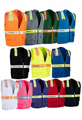 (Variety of Colors) Solid Hi-Vis Reflective Tape Safety Vest with Pockets 8038