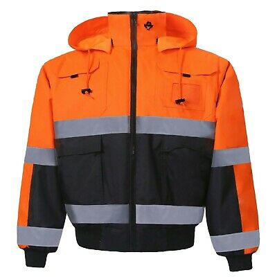 Hi-Vis Insulated Class 3 Reflective Safety Bomber Jacket