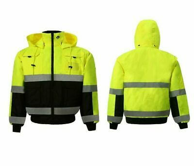 Yellow Hi-Vis Insulated Class 3 Reflective Safety Bomber Jacket
