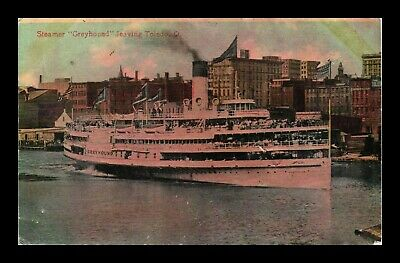 Dr Jim Stamps Us Steamship Greyhound Toledo Ohio View Postcard Water Stained