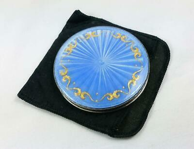 Henry Clifford Davis Sterling Silver & Blue Guilloche Enamel Compact 1954