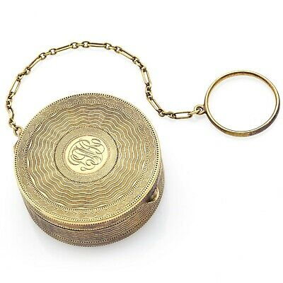 Antique 14K Yellow Gold Round Etched Compact Powder Vanity Case 27.1 Grams