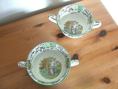 """2 Copeland Spode Small Bowls with Two Handles """"Spode's Byron""""."""