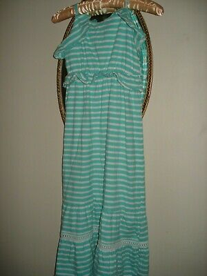 Girls Kids Green Striped Cotton Maxi Summer Dress Aged 10 Years