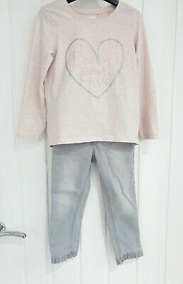 NEXT girls 4-5 years bundle jeans frill hem & long sleeve pink top I love daddy