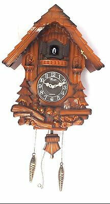 Wooden Cuckoo Bird Clock House Style Pendulum Wood Forest NEEDS ATTENTION - L49