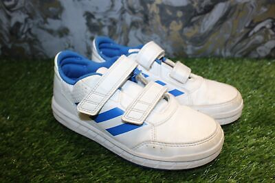 Childrens ADIDAS White Leather Blue Hook & Loop Trainers Size UK 13 - B42
