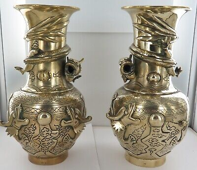 .1919 MATCHING PAIR of LARGE STUNNING BRONZE CHINESE DRAGON VASES in HIGH RELIEF