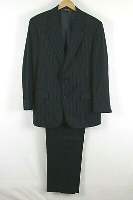 Brooks Brothers Mens Black Pinstripe Suit Two Button 42R 34x31