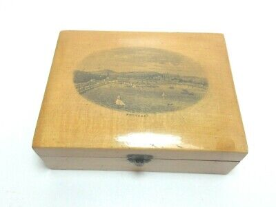Antique Mauchline Ware Wooden Box Rothesay Velvet Lined