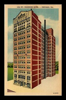 Dr Jim Stamps Us Dearborn Hotel Chicago Illinois Linen Postcard
