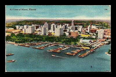 Dr Jim Stamps Us Miami Florida Aerial View Harbor Boats Linen Postcard 1956